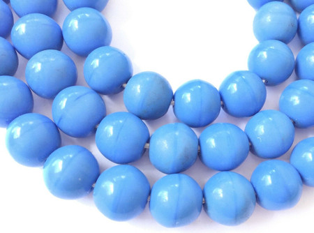 10mm Fine Vintage Trade Smooth Opaque Blue Glass Round African beads