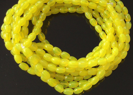 Vintage Rare Yellow Color Czech Bohemian Oval glass African trade beads