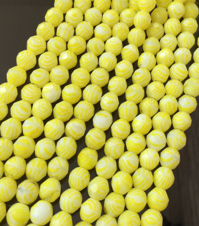 Fine Vintage Round Faceted Lemon Yellow Czech Bohemian Glass beads