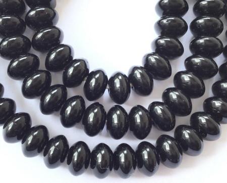 Fine Quality Vintage Trade Jet Black Glass Rondelle African beads