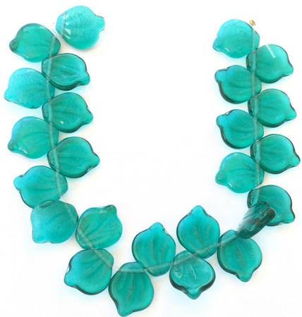 24 Fine Vintage Trade Transparent Kelly Green Czech Bohemian Glass beads