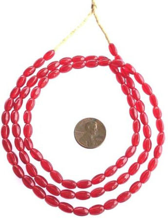 Vintage Transparent Red Czech Bohemian Glass African Trade Beads