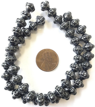 25 Vintage Trade Czech Bohemian Glass Black with Silver shinny Mulberry Beads