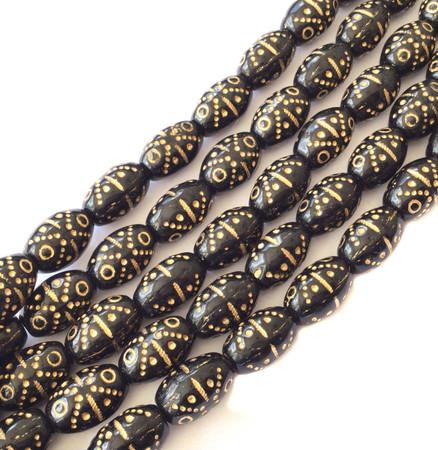 24 Vintage Trade Opaque Oval Black w/Gold Decor Czech Bohemian Glass beads