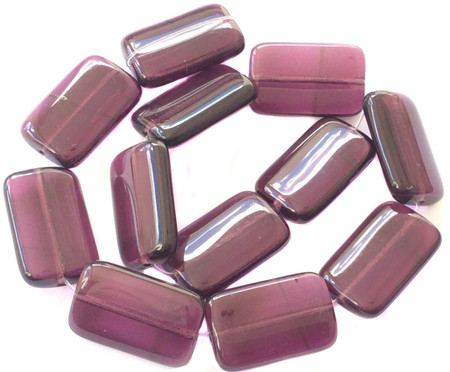 12 PCS Vintage Rectangle Transparent Amethyst Glass Trade Beads