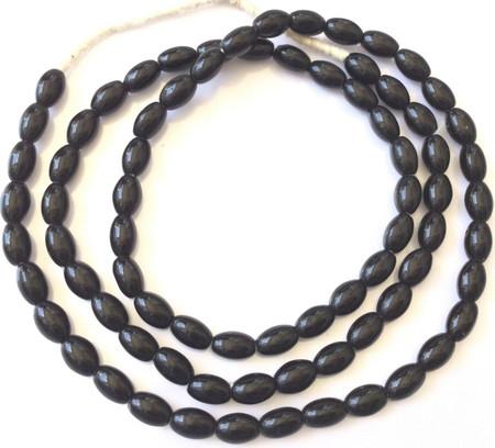 8x5mm Vintage Opaque Black Czech Bohemian Glass African Trade Beads