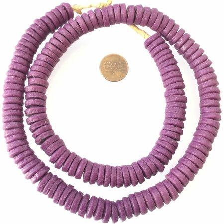 Made in Ghana recycled glass Opaque Purple disk African Trade Beads-Ghana