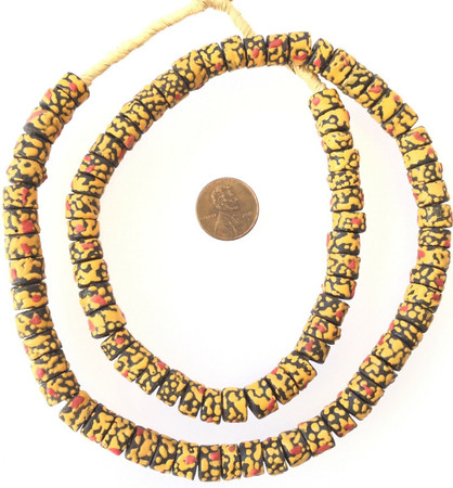 Made in Ghana Black with raised yellow and red dots African Trade beads Ghana