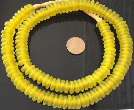 Handmade Yellow Ghana disk Krobo Recycled Glass African trade beads-Ghana