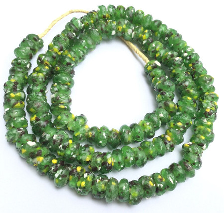 Ghana African Matched Fancy Green crumb Recycled glass trade beads