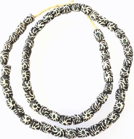 Made in Ghana Black and white Sun Flower glass African trade beads-Ghana