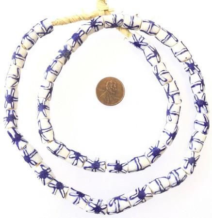 Made in Ghana Handmade recycled glass Blue-White African Trade beads-13x9m Ghana