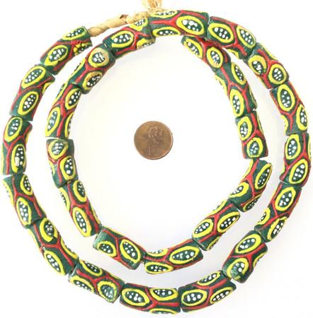 Ghana Green Multi Millefiori Krobo recycled Glass African trade Beads-Ghana