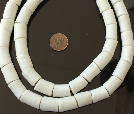 Ghana African Matched Opaque White cylinder Recycled glass trade beads-Ghana