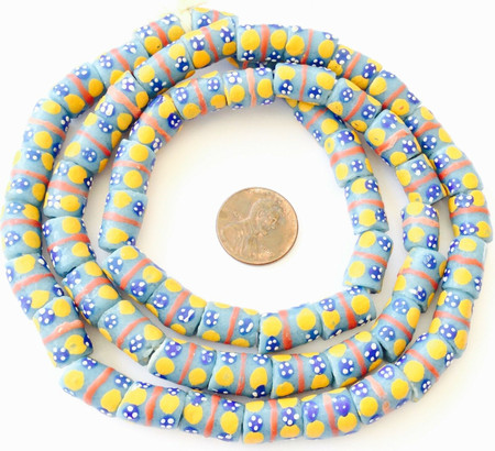 Handmade Turquoise Blue w/ yellow eye Recycled glass African trade beads-Ghana