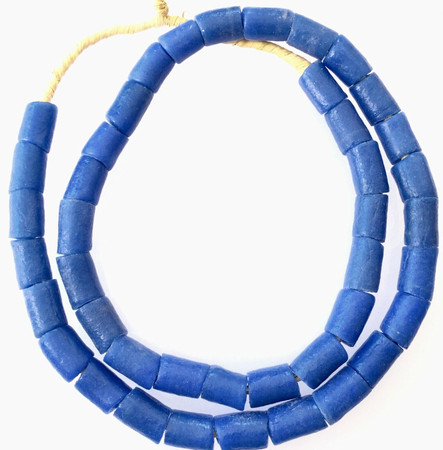 Ghana African Matched Opaque Blue cylinder Recycled glass trade beads-Ghana