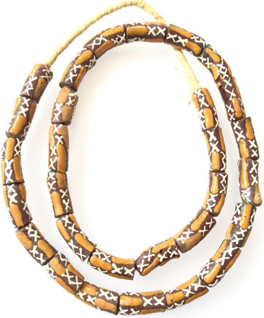 Opaque Autumn Brown Mult cylinder Recycled glass African trade beads-Ghana