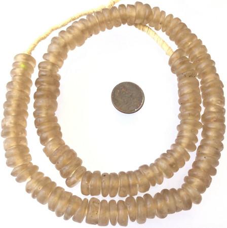 Amazing matte Tan Ghana disk Krobo Recycled Glass African trade beads-Ghana