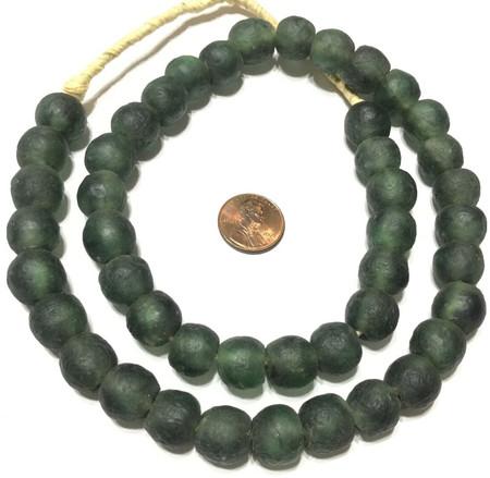 45 Ghana Dk Green Multi Krobo recycled Glass African trade Beads-Ghana