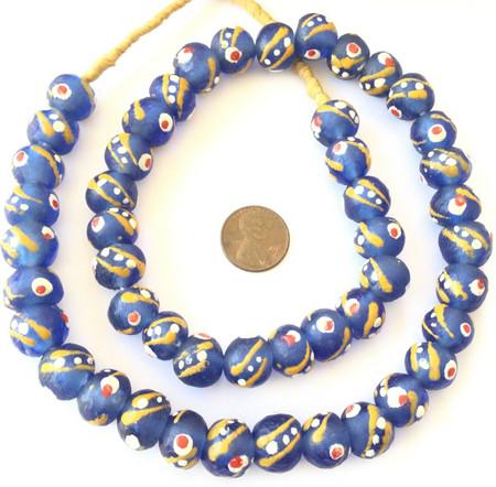 Venetian style African Krobo recycled Glass Blue multi African trade Beads-Ghana