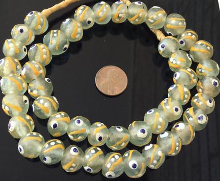African Krobo recycled Glass ice Green African trade Beads-Ghana