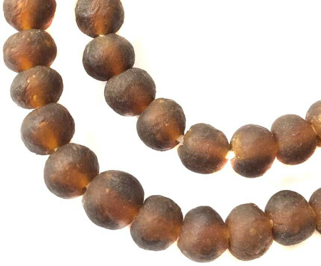Dark Amber Handmade Krobo recycled Glass African trade Beads-Ghana