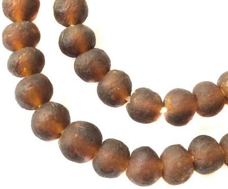 Dark Amber Handmade Krobo recycled Glass African trade Beads-Ghana