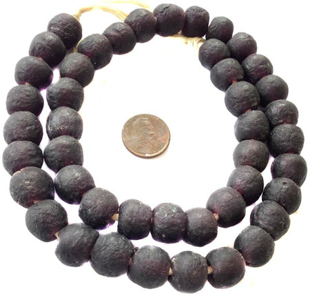 Etched Dark Amethyst Handmade Krobo recycled Glass African trade Beads-Ghana
