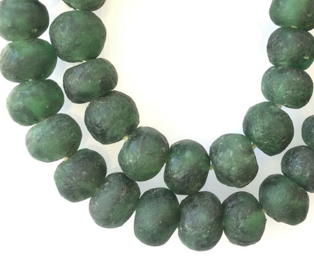 Extra Large Ghana Dark Green Krobo recycled Glass African trade Beads
