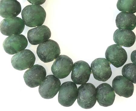 Extra Large Ghana Dark Green Krobo recycled Glass African trade Beads