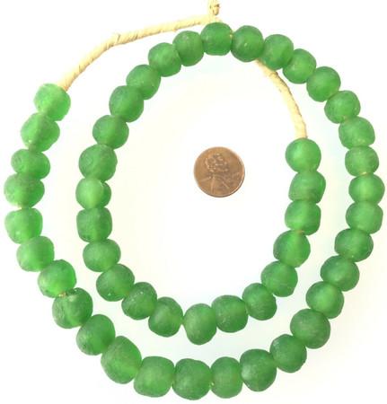 Ghana Round Green handmade Recycled glass African trade beads-Ghana