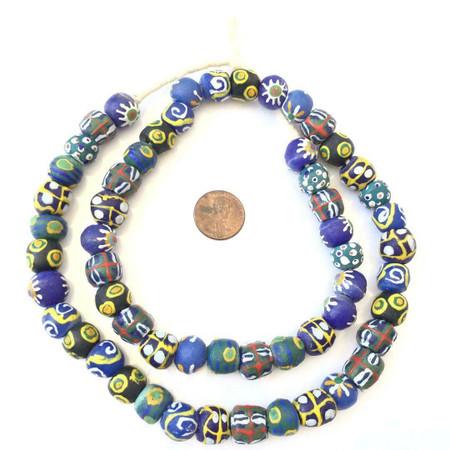 African handmade round mixed recycled Glass Ghana African Trade Beads-Ghana
