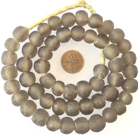 12mm Made in Ghana Transparent Round glass Lt Grey African trade beads-Ghana