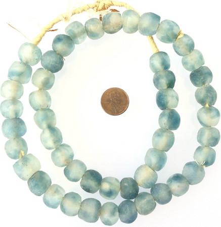 Sky Blue Multi Made in Ghana Recycled glass African trade beads-Ghana