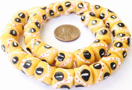 25 Handmade Ghana glass Mustard yellow African Trade beads-Ghana