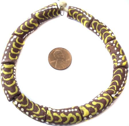 Ghana Handmade recycled Glass brown Multi African Trade beads-Ghana
