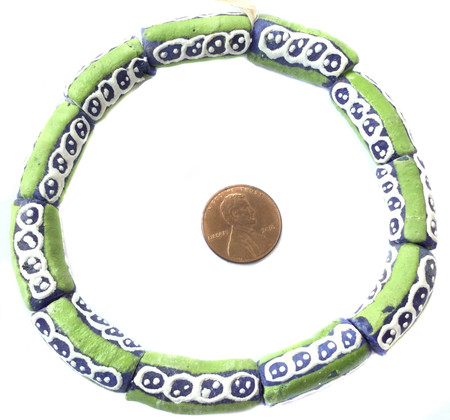 Ghana Handmade recycled Glass Apple green Multi African Trade beads