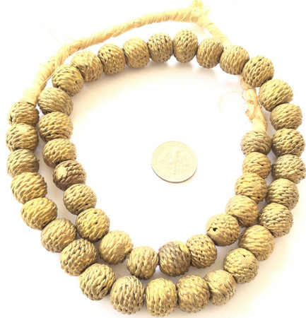 Ashanti African lost Wax natural Round weave Brass African trade Beads-Ghana