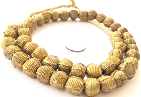 African lost Wax natural Round weave Brass African trade Beads