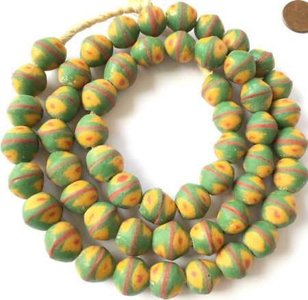 Ghana Authentic Recycled Glass Opaque Green Special Bicone African trade beads