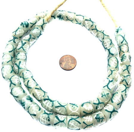 Teal Gye Nyame Symbol handmade Krobo recycled Glass African trade Beads-Ghana
