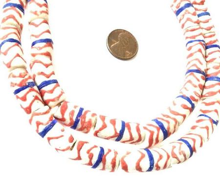 Handmade Red White & Blue Swirl Krobo recycled Glass African trade Beads-Ghana