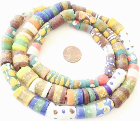 Assortment Handmade Ghana Powder-Glass African Trade beads-Ghana