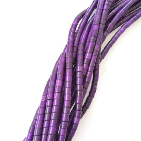 Purple cylinder Howlite Gemstone beads Stone Gemstone Beads