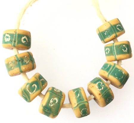 9 PCS old Venetian Antique Wound green Banded Wound African Trade beads