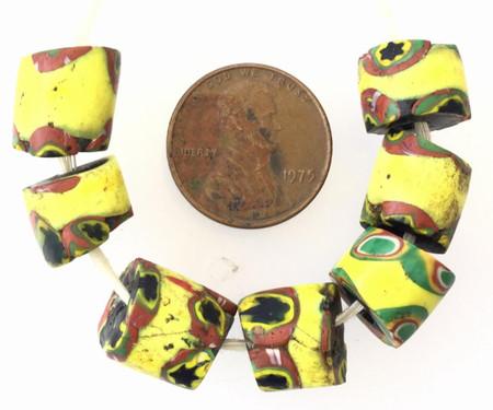 9 Antique Venetian Millefiori African Glass Trade beads-Ghana