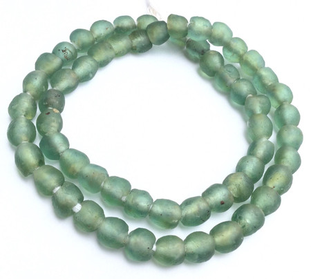 Fine African Ghana LT green recycled glass trade beads