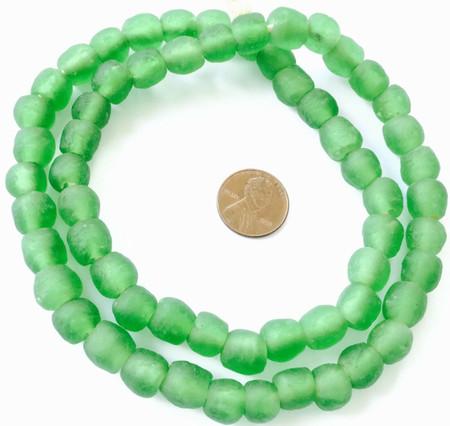 Handmade Parakeet Green Krobo recycled Glass African trade Beads-Ghana