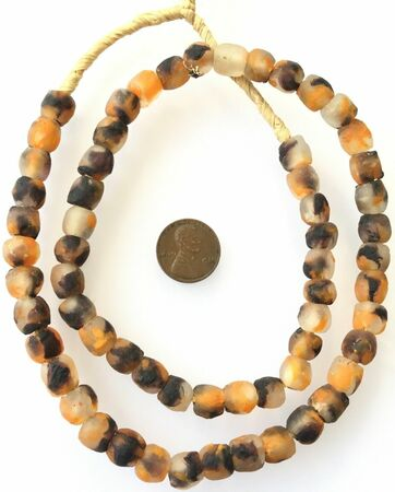 60 Krobo Glass Orange Black Multi African trade Beads-Ghana