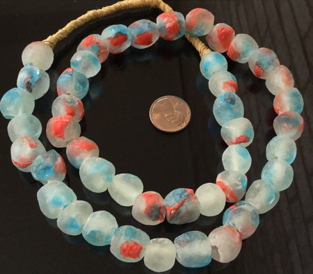 Handmade Ghana Sea Blue multi Krobo recycled Glass African trade Beads-Ghana